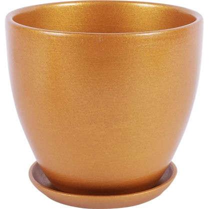 Горшок цветочный № 3 керамика 1.5 л 15 см цвет золотой