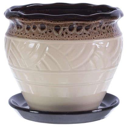 Купить Горшок цветочный Дарья бежевый 2.1 л 171 мм керамика с поддоном дешевле
