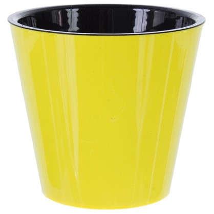 Купить Горшок цветочный Фиджи жёлтый 1.6 л 160 мм пластик с поддоном дешевле