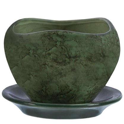 Купить Горшок цветочный Флокс зелёный 0.35 л 90 мм керамика с поддоном дешевле