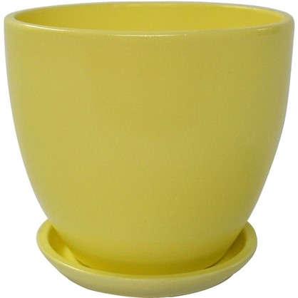 Купить Горшок цветочный Колор гейм керамика 4.8 л 22 см цвет жёлтый дешевле