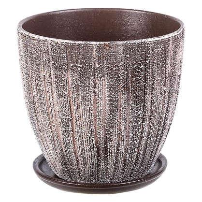 Горшок цветочный Меланж серый 1.5 л 150 мм керамика с поддоном