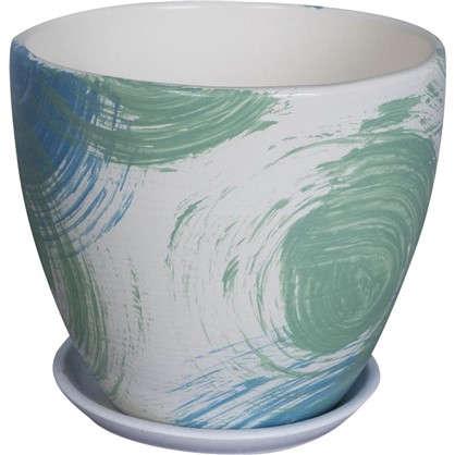 Горшок цветочный Мяун №3 1.5 л 150 мм глина цвет светло-зелёный