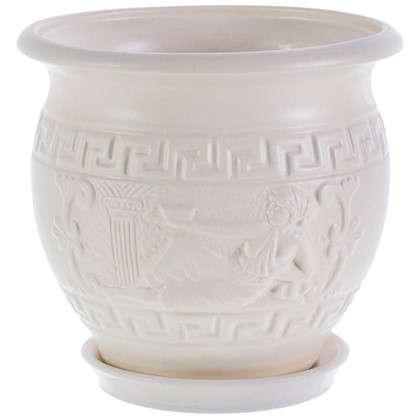 Купить Горшок цветочный Олимпия белый 1.8 л 160 мм керамика с поддоном дешевле