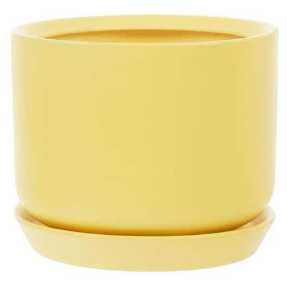 Купить Горшок цветочный Орфей d19 см керамика цвет жёлтый дешевле
