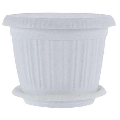 Купить Горшок цветочный под мрамор 2.6 л 200 мм пластик с поддоном дешевле