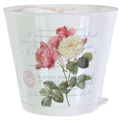Купить Горшок цветочный Прованс 0.7 л 120 мм пластик с поддоном дешевле