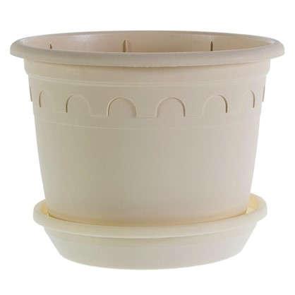 Купить Горшок цветочный Рома песочный 3 л 200 мм пластик с поддоном дешевле
