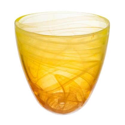Горшок цветочный Современный жёлто-оранжевый 0.85 л 130 мм стекло