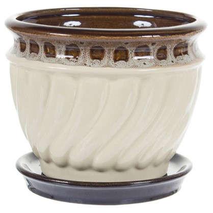 Горшок цветочный Танго бежевый 0.8 л 130 мм керамика с поддоном