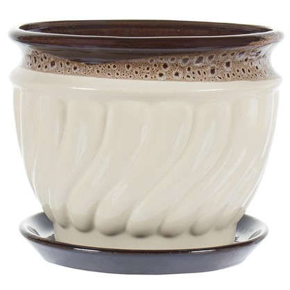 Горшок цветочный Танго бежевый 2 л 172 мм керамика с поддоном