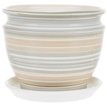Купить Горшок цветочный Уют серый 2 л 176 мм керамика с поддоном дешевле