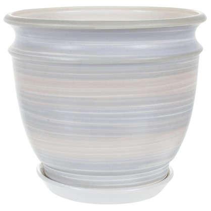 Купить Горшок цветочный Уют серый 4.2 л 233 мм керамика с поддоном дешевле
