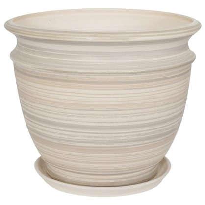 Горшок цветочный Уют серый 7.7 л 290 мм керамика с поддоном