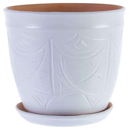 Купить Горшок цветочный Узоры белый 14.4 л 280 мм керамика с поддоном дешевле