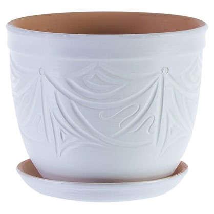 Купить Горшок цветочный Узоры белый 4.2 л 185 мм керамика с поддоном дешевле
