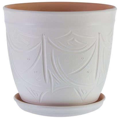 Горшок цветочный Узоры бежевый 14.4 л 280 мм керамика с поддоном