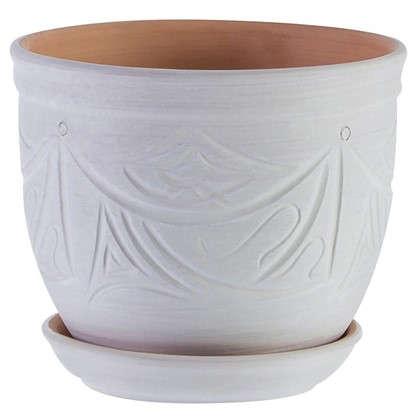Горшок цветочный Узоры бежевый 2.4 л 155 мм керамика с поддоном