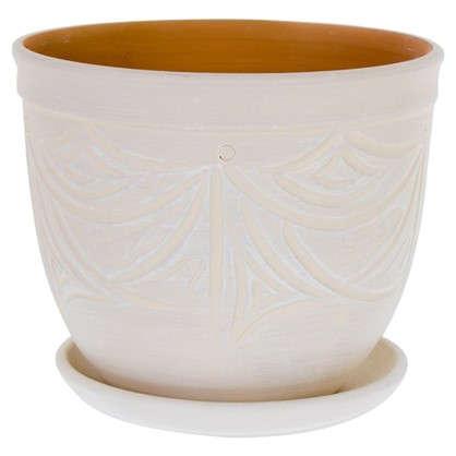 Горшок цветочный Узоры бежевый 4.2 л 185 мм керамика с поддоном