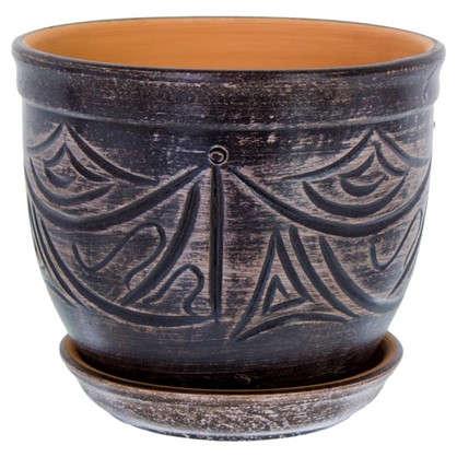 Горшок цветочный Узоры серый 2.4 л 155 мм керамика с поддоном