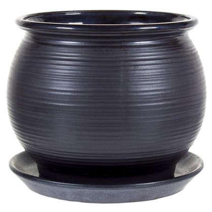 Купить Горшок цветочный Венге чёрный 1.8 л 162 мм керамика с поддоном дешевле