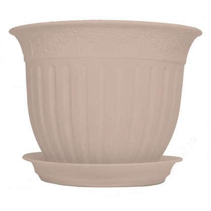 Купить Горшок цветочный Виноград кремовый 0.6 л 130 мм пластик с поддоном дешевле