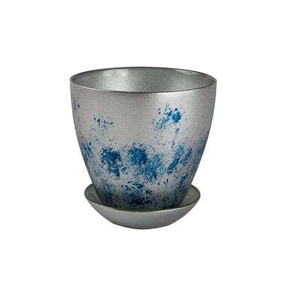 Горшок Современный 1 л 15.8 см стекло цвет серебрённый металлик