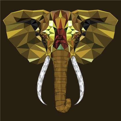 Купить Холст 30х30 см Голова слона дешевле