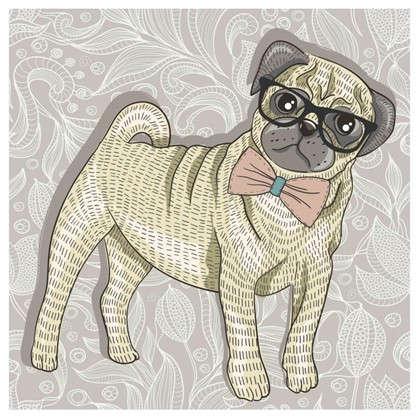 Холст 30х30 см Собака и очки
