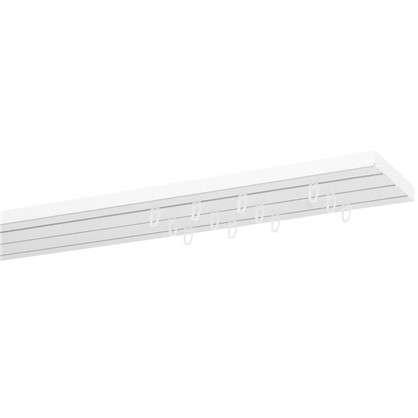 Карниз пластиковый трехрядный Inspire в наборе 160 см пластик цвет белый
