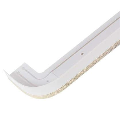 Карниз шинный двухрядный с поворотом Греция в наборе 160 см пластик цвет белый глянец