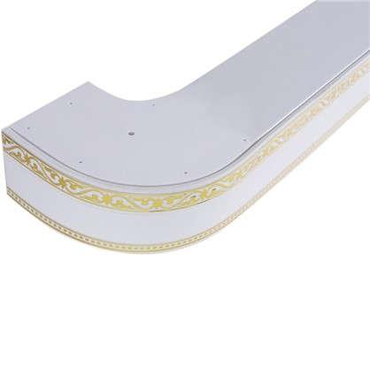 Карниз шинный трехрядный Монарх в наборе 200 см пластик цвет белый глянец