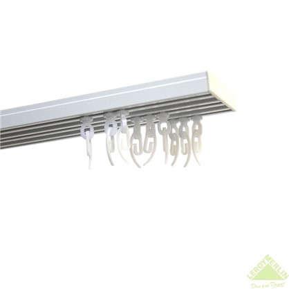 Карниз шинный трехрядный с потолочным держателем 200 смалюминий цвет белый