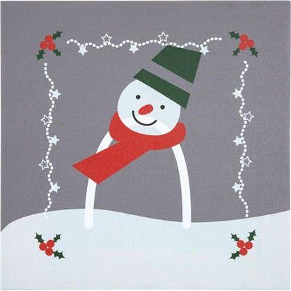 Картина на холсте 30х30 Новый Год Снеговик