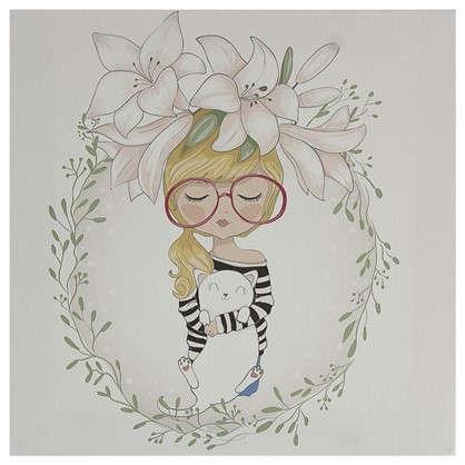 Картина на холсте 30х30 см Девочка в цветах