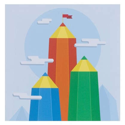 Купить Картина на холсте 30х30 см Горы из карандашей дешевле