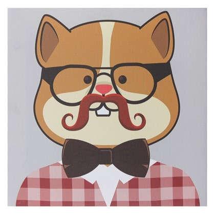 Купить Картина на холсте 30х30 см Hipster cat цвет бежевый дешевле