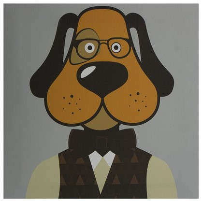 Купить Картина на холсте 30х30 см Hipster dog дешевле