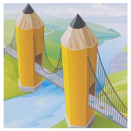 Купить Картина на холсте 30х30 см Мост из карандашей дешевле