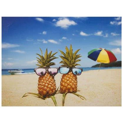 Картина на холсте 40х50 см Ананасы на пляже