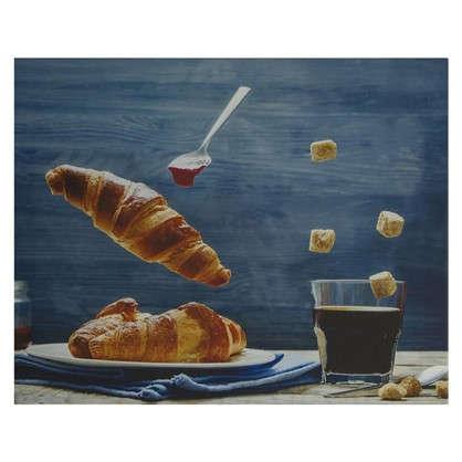 Картина на холсте 40х50 см Кофе круассан