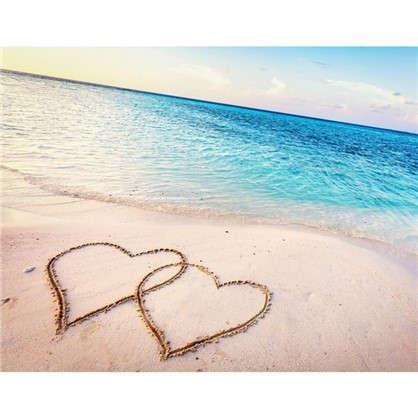 Картина на холсте 40х50 см Сердца на песке