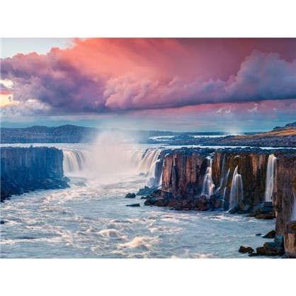 Картина на холсте 40х50 см Водопад на закате