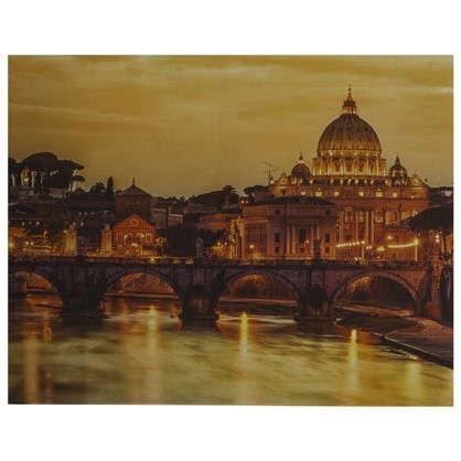 Купить Картина на холсте 40х50 см Закат над городом дешевле