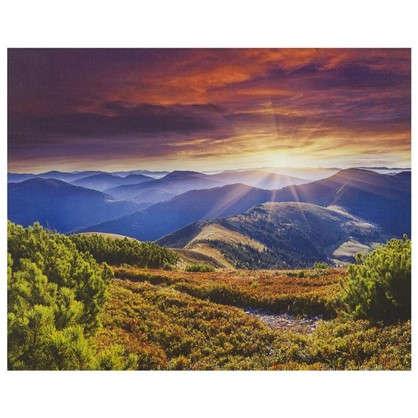 Купить Картина на холсте 40х50 см Закат в горах дешевле