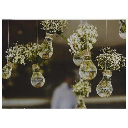 Картина на холсте 50х70 см Цветы в лампочках