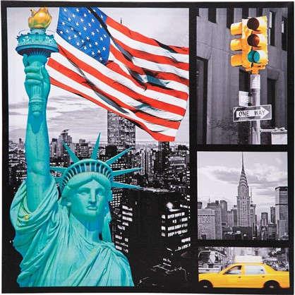 Купить Картина на холсте Статуя свободы 40х40 см дешевле