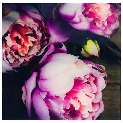 Картина на стекле 30х30 см Цветы пионы