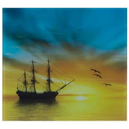 Купить Картина на стекле 30х30 см Парусник дешевле
