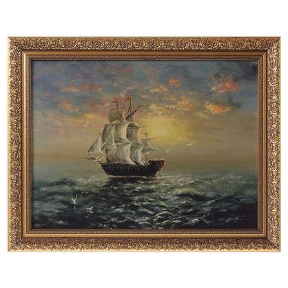 Купить Картина в раме 30x40 см Корабль на закате дешевле
